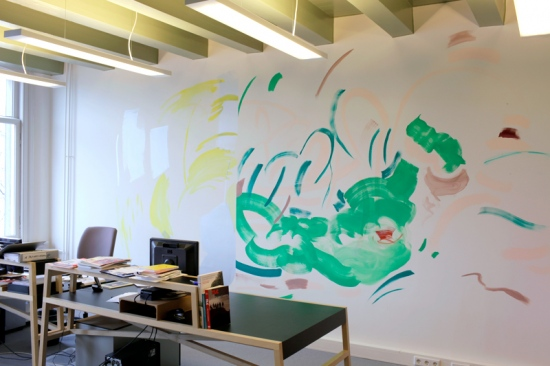 Anywheres: Diptych on office wall, 2014Gouache on wall, dimensions variableInstallation view: Manifesta foundation and DutchCulture Offices, Amsterdam, NL